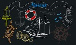 Morscy elementy odizolowywający na czarnym tle ilustracja wektor