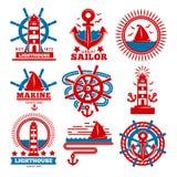 Morscy i nautyczni logów szablony lub heraldyczni symbole royalty ilustracja
