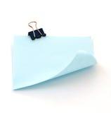Morsetto blu su pezzo di carta Fotografie Stock Libere da Diritti