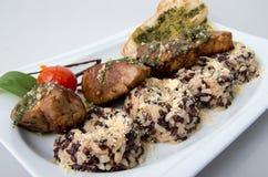 Morsi di carne di maiale con riso Fotografia Stock Libera da Diritti