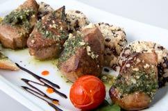 Morsi di carne di maiale con riso Immagini Stock Libere da Diritti