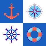 Morska kolekcja ikony w mieszkanie stylu ilustracji