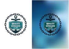 Morska okrętowiec etykietka z łańcuchem, kotwica i Fotografia Royalty Free
