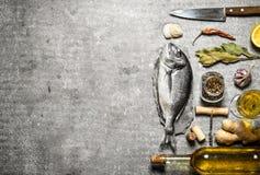 Morska ryba z winem obraz royalty free