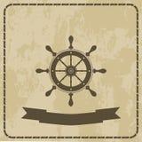 Morska ster kierownica na grunge tle Zdjęcia Royalty Free