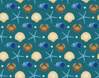 Morski bezszwowy wzór, kreskówka styl Podwodny świat, dennego życia nieskończony tło Rozgwiazda, skorupa, łowi ilustracja wektor