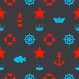 Morski bezszwowy wzór z czerwonymi, błękitnymi nautycznymi ikonami jak na ciemnego czerni backgr i, royalty ilustracja