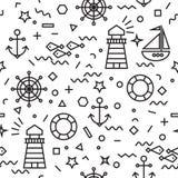 Morski bezszwowy wzór z kotwicą i żaglówką obrazy royalty free