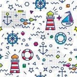 Morski bezszwowy wzór z kotwicą i żaglówką fotografia royalty free