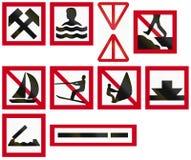 Morski farwateru znak Szwecja - praca w toku w wodzie lub obok Fotografia Royalty Free