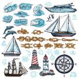 Morski nakreślenie set ilustracji