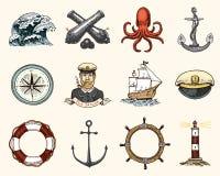 Morski, nautyczny i denny, oceanów emblematy set grawerujący rocznik, ręka, etykietki lub odznaki dla życie pierścionku, rysująca royalty ilustracja