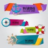 Morski nautyczny podróży pojęcie Horyzontalny sztandaru szablonu set Nowożytna ręka rysujący doodle projekt ilustracja wektor