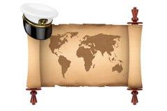 Morski oficer, Admiral, statku wojennego kapitanu kapelusz nad Starym papieru Scr ilustracja wektor
