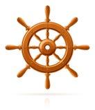 morski statku rocznika koło drewniany Fotografia Stock