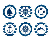 Morski symbol Nautyczni projektów elementy Obrazy Stock