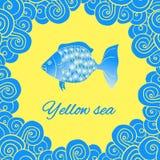 Morski temat, kartka z pozdrowieniami, logo Zdjęcie Royalty Free