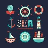 Morski ustawiający ikony Zdjęcia Royalty Free