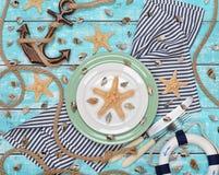 Morskie dekoracje i cutlery Obrazy Stock
