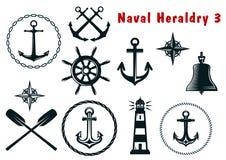 Morskie heraldyk ikony ustawiać Fotografia Stock