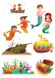 Morskie ilustracje Ustawiać ilustracja wektor