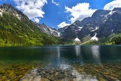 Morskie oko湖,海眼睛,扎科帕内,波兰 免版税库存照片
