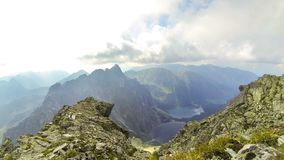 Morskie Oko Lake and Czarny Staw. View from mt.Rysy, High Tatras, Poland. Picturesque aerial view of Morskie Oko Lake and Czarny Staw pod Rysami. View from the stock footage