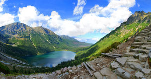 Morskie Oko lake in polish Tatra mountains. Morskie Oko is the largest and fourth deepest lake in the Tatra Mountains royalty free stock photo