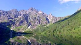 Morskie Oko Lake in the Tatra Mountains at dawn, Poland stock video
