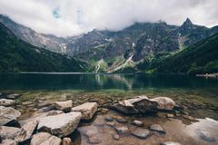Morskie Oko Lake in Tatra Mountains in Poland. Beautiful lake between the peaks of the Tatra royalty free stock photo