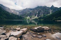 Morskie Oko Lake in Tatra Mountains in Poland. Beautiful lake between the peaks of the Tatra Royalty Free Stock Photo