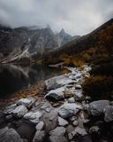 Morskie Oko Lake in Tatra Mountains in Poland. Beautiful lake between the peaks of the Tatra Mountains stock photography