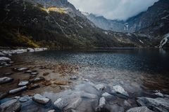 Morskie Oko Lake in Tatra Mountains in Poland. Beautiful lake between the peaks of the Tatra Mountains royalty free stock image