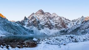 Morskie oko lake in Tatra mountains at winter royalty free stock images