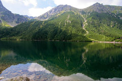 Morskie oko. Reflection of mountains in a water mirror Stock Photo