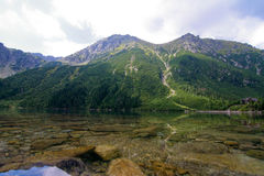 Morskie oko. Reflection of mountains in a water mirror stock image