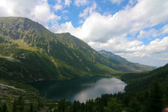 Morskie oko. View from Black Pond on Sea Eye royalty free stock photography