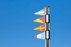 Morskie sygnałowe flaga w porcie Barcelona Obrazy Royalty Free