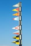 Morskie sygnałowe flaga w porcie Barcelona Zdjęcia Royalty Free