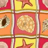 Morskiego patchworku bezszwowy wzór Zdjęcia Stock