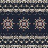 Morskiego steru kotwicowi łańcuchy złoto Denny druk dla koszulki, mody tekstura, materiał, tkanina Obraz Royalty Free