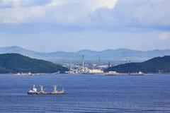 Morskiego transportu teren, przemysłowy nieruchomości tło obraz stock