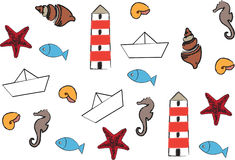 Morskiego życia ikony Obraz Royalty Free