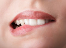 Morso dei suoi denti rossi delle labbra Fotografia Stock Libera da Diritti