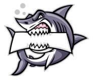 Morso dello squalo un segno in bianco Fotografia Stock