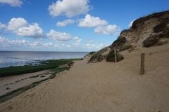 Sand coast. Sandy Morsum cliff on Sylt Germany royalty free stock images