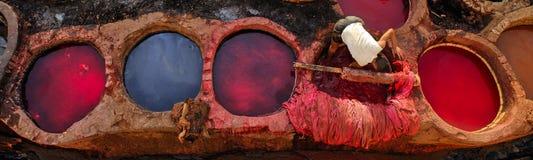 Mort en cuir dans une tannerie traditionnelle dans Fes, Maroc image stock