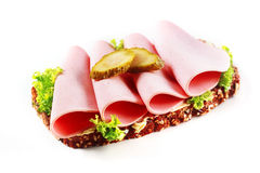 Mortadella, gherkin and lettuce sandwich Royalty Free Stock Photography