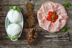 Mortadella, Mozzarella Amd Wholemeal Bread With Seeds Stock Images