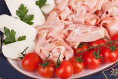 Mortadella And Mozzarella Royalty Free Stock Photos
